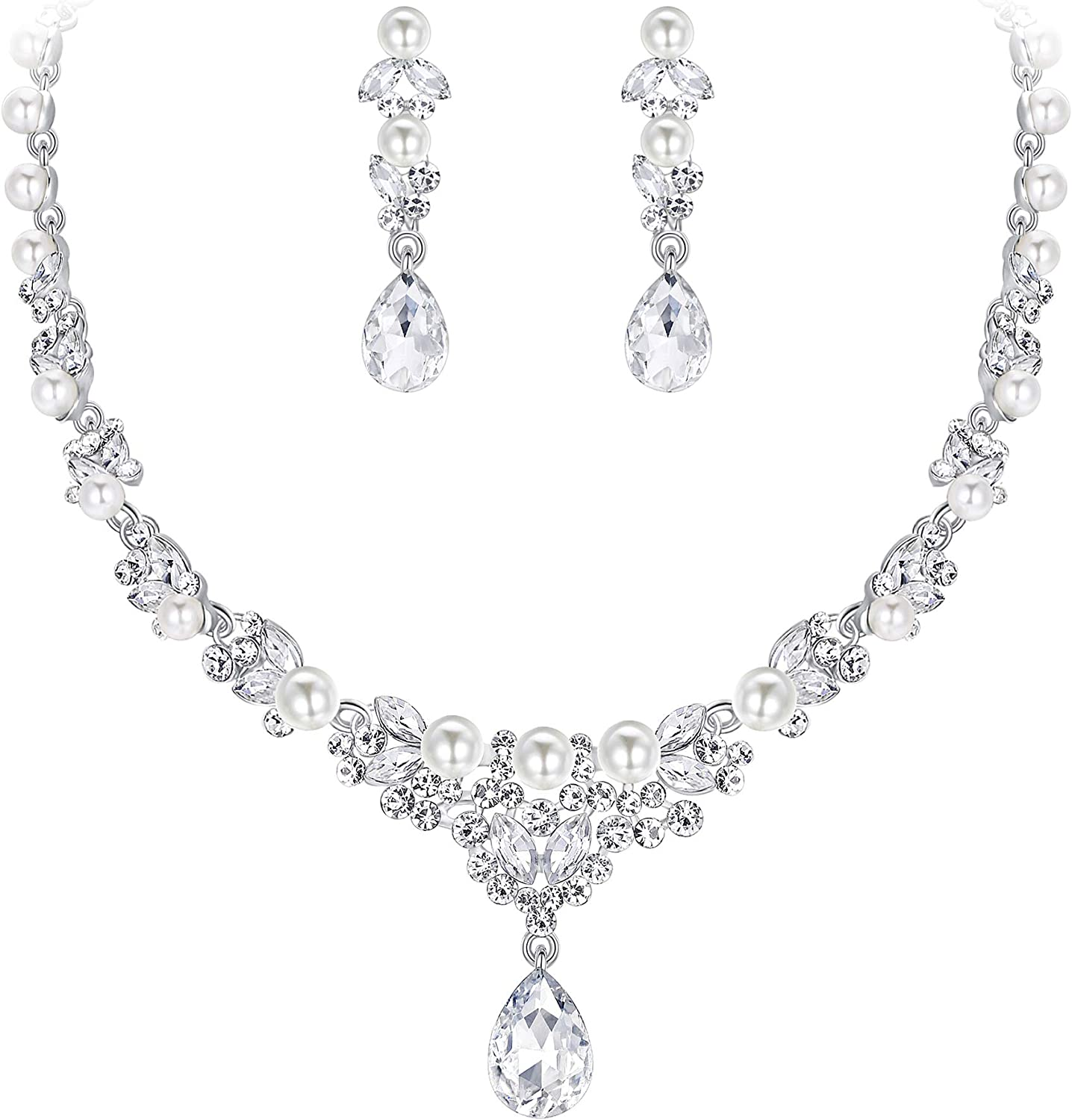 EVER FAITH Women's Crystal Simulated Pearl Elegant Bridal Banquet Waterdrop Necklace Earrings Set