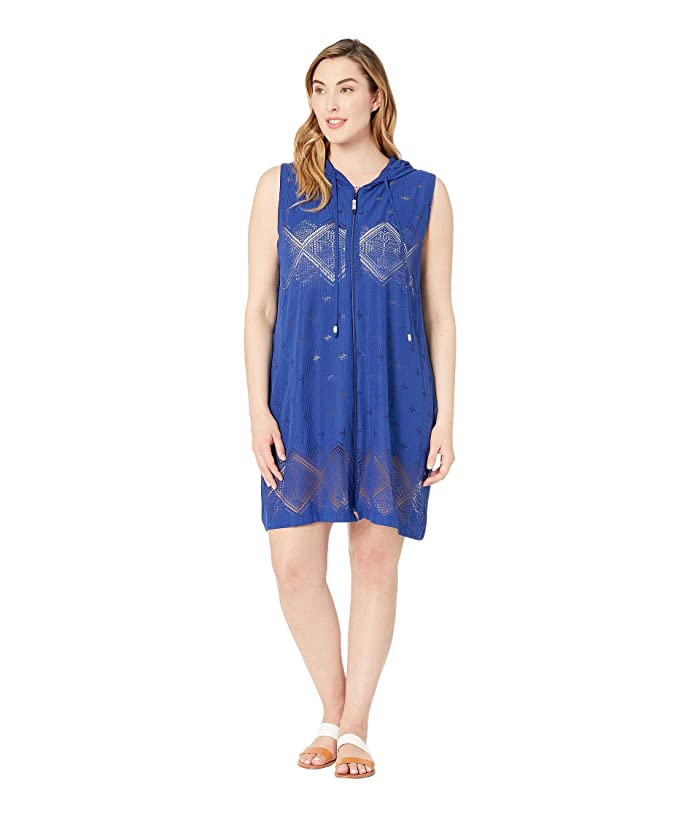 DOTTI Plus Size Santorini Tile Dress Cover-Up (Navy) Women