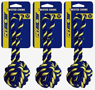 PetSport 3 Pack of Braided Cotton Rope Monkey Fist Dog Toys, Small, for Small to Medium Dogs