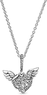 """Pandora Jewelry Pave Heart and Angel Wings Cubic Zirconia Necklace in Sterling Silver, 17.7"""""""