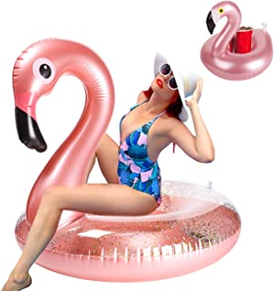 GROBRO7 Giant Inflatable Flamingo Pool Float Elegant Vinyl Swimming Floaty Pool Toy with Glitters Outdoor Water Lounge Inflatable Raft with Flamingo Pool Drink Holder for Adults(L)