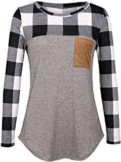 S-Fly Women Top Long Sleeve Fashion Slim Patchwork Tee Shirts Blouse Top with Pockets