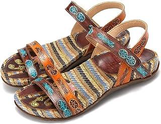 Sandalias Cuero Planas Verano Mujer Estilo Bohemia Zapatos para Mujer de Dedo Sandalias Talla Grande 37-42 Chanclas Romanas de Mujer Café Naranja Hecho a Mano Los Zapatos 2019