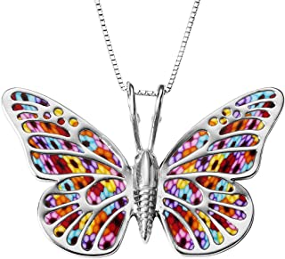 925 Sterling Silver Large Butterfly Necklace for Women Colorful Handmade Polymer Clay Pendant Handcrafted Jewelry, 16.5