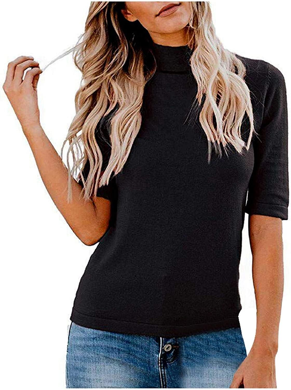 TOTOD Women Summer Plain T-Shirt Mock/Turtle Neck Half Sleeve Blouses Slim Fitted Casual Cute Tee Tops