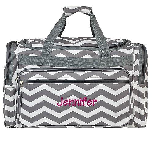 add530bd70fc Personalized Grey Chevron Weekender Duffle Bag 22 Inch