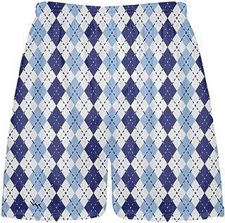 Youth Navy Blue Powder Blue Argyle Shorts - Lacrosse Shorts Argyle Powder Blue Navy Blue - Kids Athletic Short