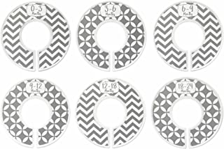 Baby Closet Dividers Ranged Months: Gender Neutral; Nursery Clothes Rack Rod Dividers; Infant Clothes Hanger Organizer; Newborn Boys and Girls Organization; Gray Chevron; Set of 6 Clothing Sizes; Fits