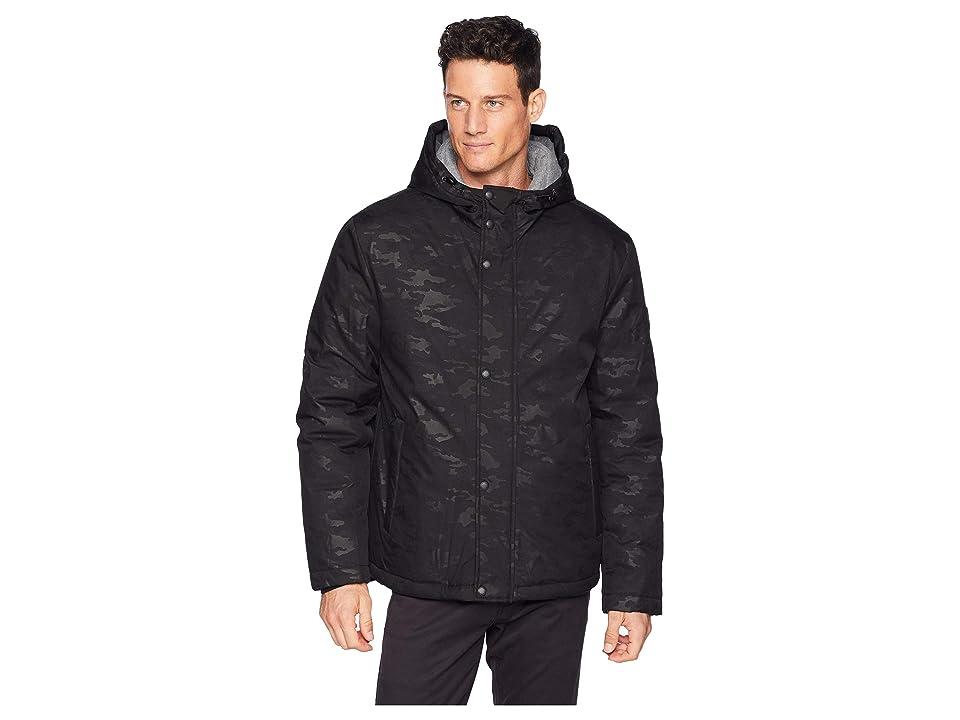 Cole Haan Oxford Rain Zip Front Jacket (Black Camo) Men
