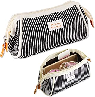 iSuperb Stripe Pencil Case Large Capacity Trapezoid Shape Pencil Bag Canvas Zipper Stationery Organizer Storage Bag Cosmetic Pouch for Teen Boys Girls