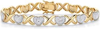 Palm Beach Jewelry 18K Yellow Gold Plated Genuine Diamond Accent Hearts and Kisses Link Bracelet 7.5