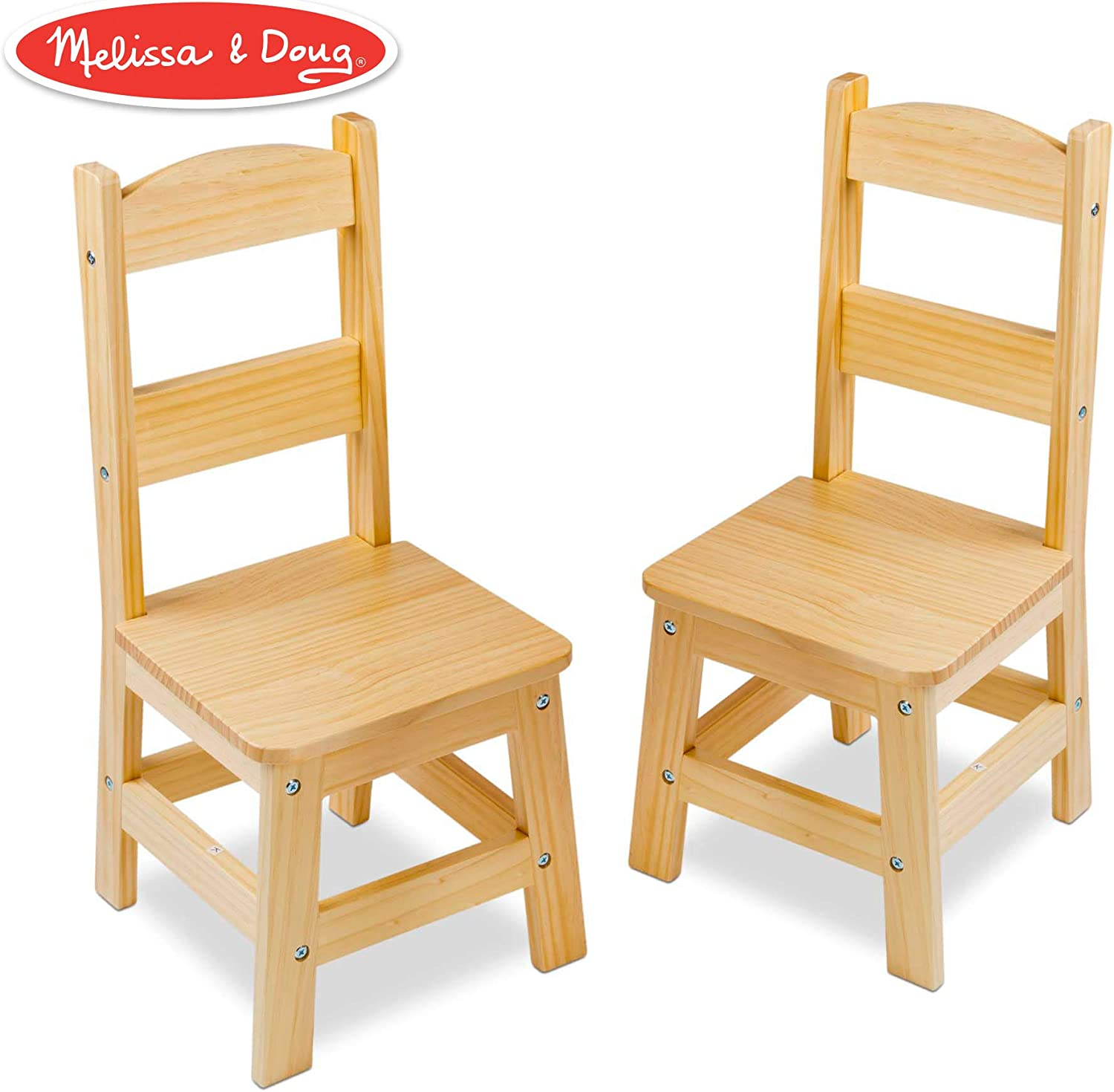 """Melissa & Doug Solid Wood Chairs, Chairs for Kids, Light-Finish Furniture for a Playroom (Durable Construction, Set of 2, 28"""" H x 15.2"""" W x 4"""" L)"""