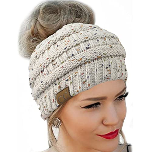 f84bc537bcb FENGGE Messy Bun Hat Quality Knit Soft Stretch Winter Warm Cable Knit Fuzzy  Lined Ear Warmer