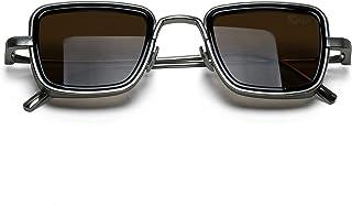 Ohio Unisex Square UV400 Protection Anti Reflective Metal Sunglasses, Large_Size