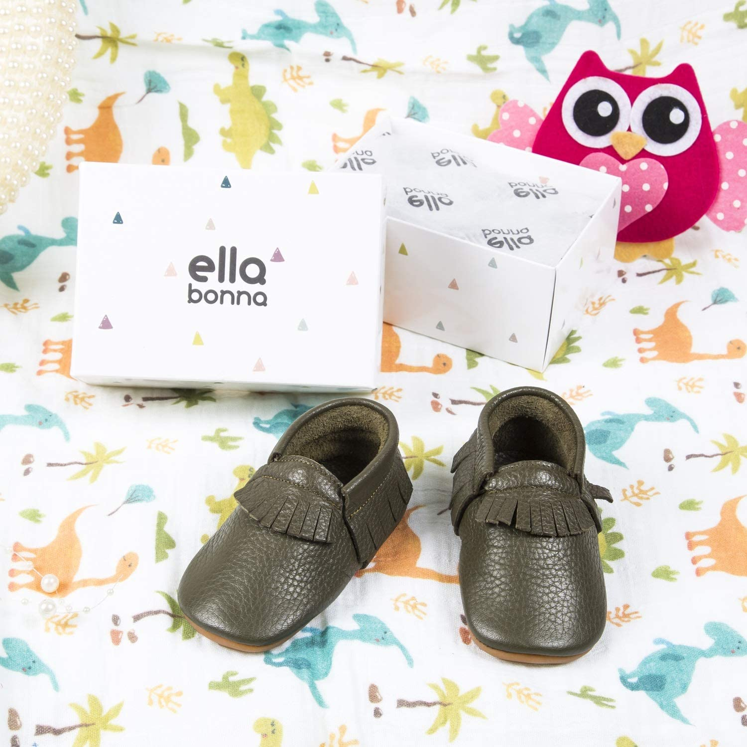 Infants Boys Girls Unisex Ella Bonna Leather Baby Moccasins with Soft and Rubber Sole Mini Shoes for Newborns