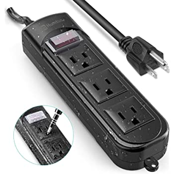 Outdoor Power Strip Surge Protector with Adapter Humtus Anti-Electric Shock Weatherproof Flat Plug 3-Outlets and 6 Foot Long Cord with Overload Protection for Cruise Ship Office, 1650W/12A-15A Black