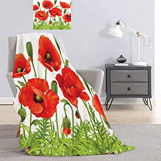 SATVSHOP Throwing blanket-62 x60-Man Prints Artwork Image.Horizontal Border with Poppy Flower Bud Poppi Chamomile Wildflowers Lawn.