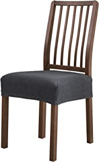 Subrtex Dining Room Chair Seat Slipcovers Sets, Removable Washable Elastic Cushion Covers, High Stretch Furniture Protector (2PCS, Gray Jacquard)