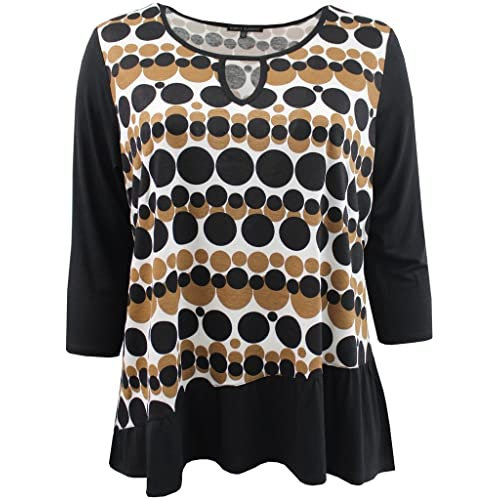 8ecc15c2871 BNY Corner Women s Plus-Size Half Sleeve Round Neck Stripe Asymmetrical Tee  Knit Top