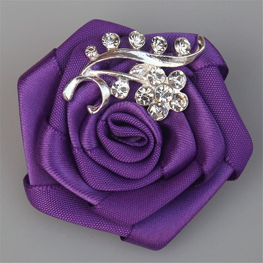 USIX 6pc Pack-Handmade Men's Women's Multi Solid Color Satin Flower Rose Crystal Rhinestone Boutonniere Brooch Pin for Suits Dresses Scarf Decoration Accessories Jewelry(Purple)