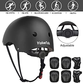ValueTalks Kid's Protective Gear Set,  7 in 1 Kids Adjustable Helmet Suitable for Ages 3-8 Years Toddler Boys Girls,  Sports Protective Gear Set Knee Elbow Wrist Pads for Bike Bicycle Skateboard Scooter