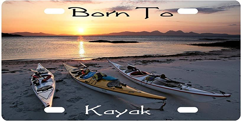 Born To Kayak Custom License Plate Novelty Tag from Redeye Laserworks
