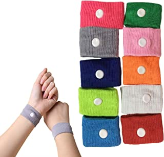 KISEER 10 Counts Assorted Color Motion Sickness Wristbands Bulk, Natural Acupressure Nausea Relief Wrist Band for Sea, Air, Travel, Car Sickness, Pregnancy