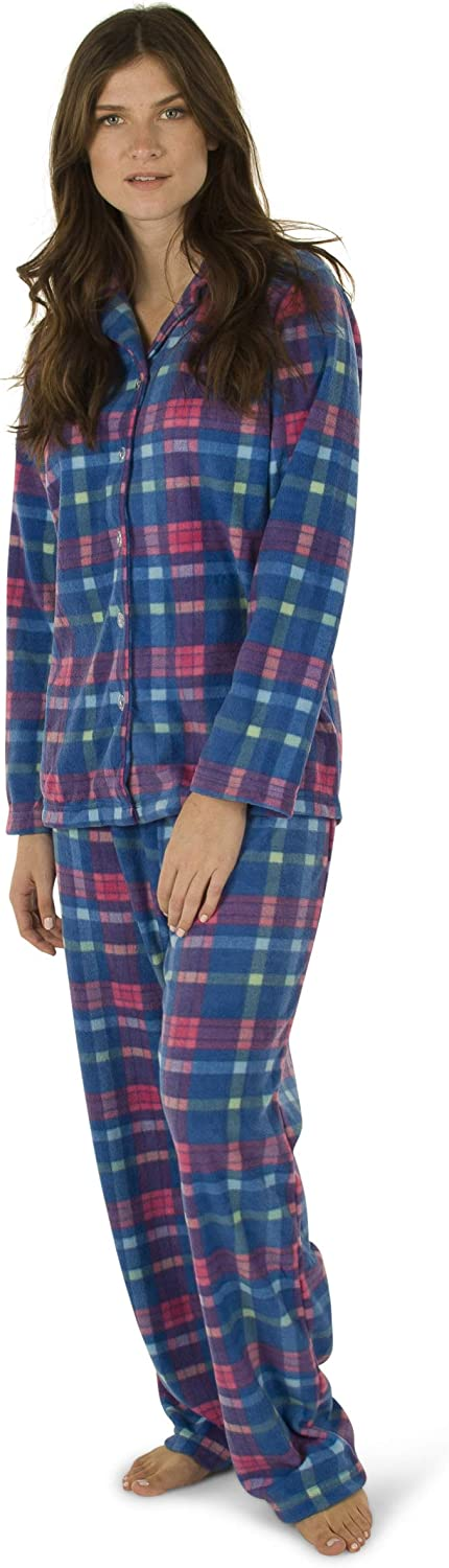 Totally Pink  Women's Warm and Cozy Plush Fleece Winter Two Piece Pajama Set Teen and Girls