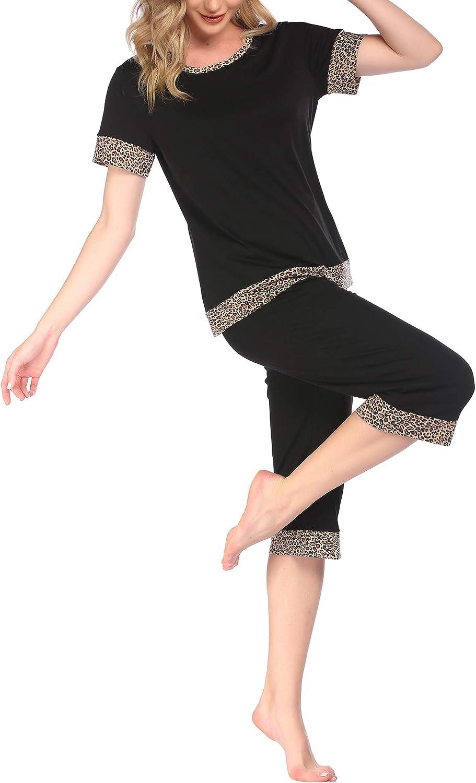 Coshow Womens Pajamas Set Soft O Neck Short Sleeve Capri Print Ladies Loungewear Set S-XXL