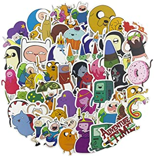 Cartoon Laptop Stickers 50pcs, Cool Kids/Teen Vinyl Computer Waterproof Water Bottles Skateboard Luggage Decal Graffiti Patches Decal (Adventure Time with Finn and Jake)