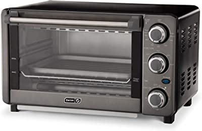 Dash Express Countertop Toaster Oven with Quartz Technology, Bake, Broil, and Toast with 4 Slice Capacity and Pizza Capability – Black