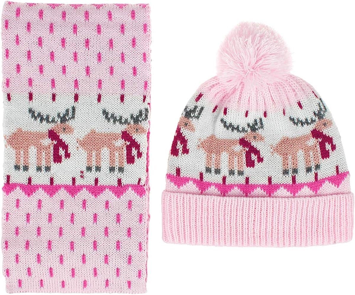 FAMKIT Kids Hat Scarf Set 2pcs Kids Boys Girls Hat Scarf Set Children Winter Knitted Warm Hat Neck Warmer for 1-4Y Kids