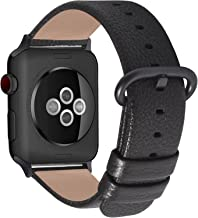 Fullmosa Compatible Watch Band 38mm 40mm 42mm 44mm, Genuine Leather Band Compatible Watch Series 4,Series 3, Series 2, Series1 Nike+ Hermes&Edition, 38mm 40mm Space Grey+Gunmetal Buckle