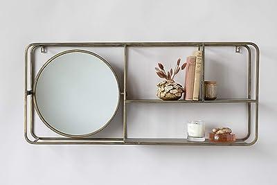 "Creative Co-op 39.5"" W Metal Framed 2-Tier Shelf Wall Mirror, Antique Gold"