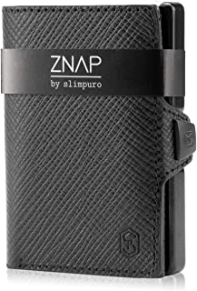 ZNAP Portafoglio Porta Carte di Credito - in Alluminio - Protezione RFID - Pelle Saffiano - Fino a 6 - 12 carte - Portafog...