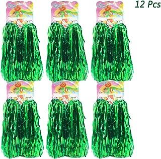 hatisan 12 Pack Cheerleading Pom Poms, Cheerleader Pompoms Metallic Foil Pom Poms for Sports Team Spirit Cheering Party Dance Useful Accessories