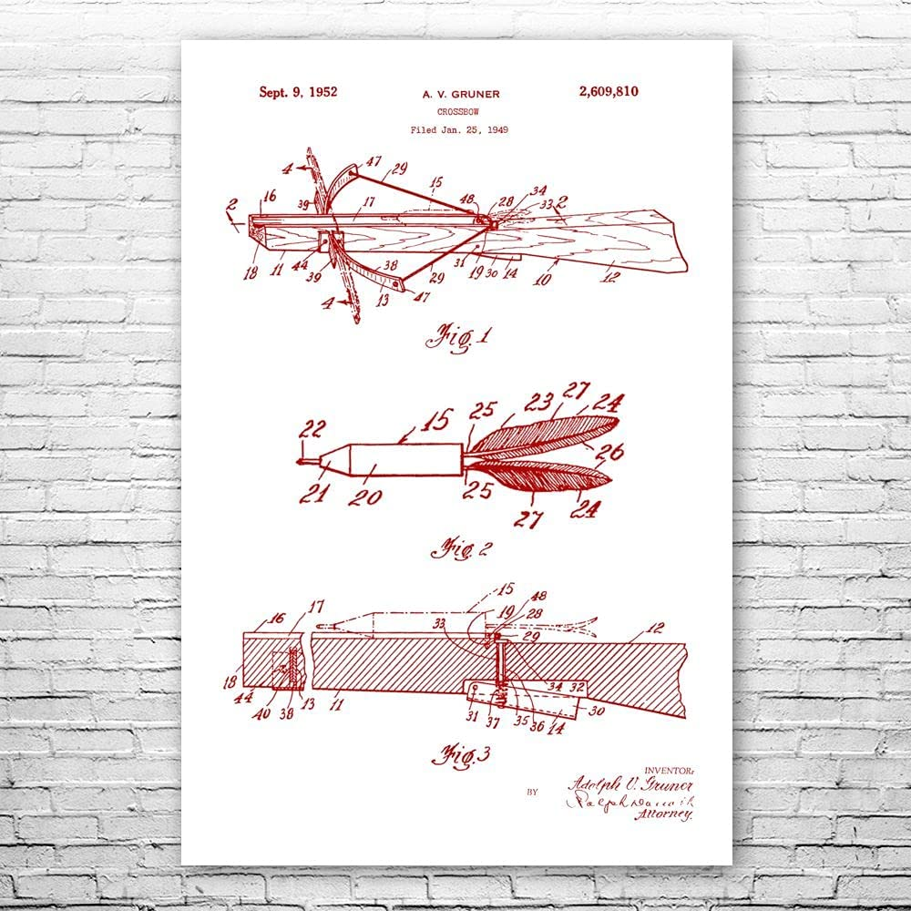 Patent Earth Crossbow Poster 70% OFF Outlet Print Wall Classic Decor Archery Hunting