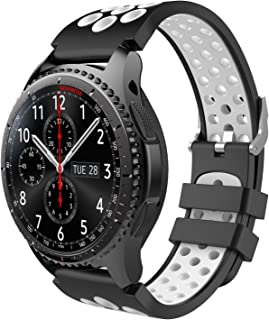 TiMOVO Band Compatible for Samsung Gear S3 / Galaxy Watch 46mm, Perforated Silicone Replacement Strap Fit Samsung Gear S3 Frontier, S3 Classic, Moto 360 2nd Gen 46mm Smart Watch, Black & White