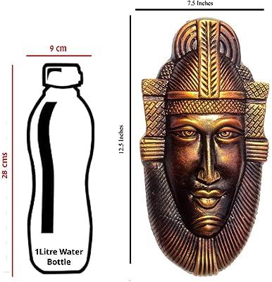 Hand Art Terracotta Egyptian King Queen Decorative Mask (Gold_12.5 x 7.5 x 1 Inch)