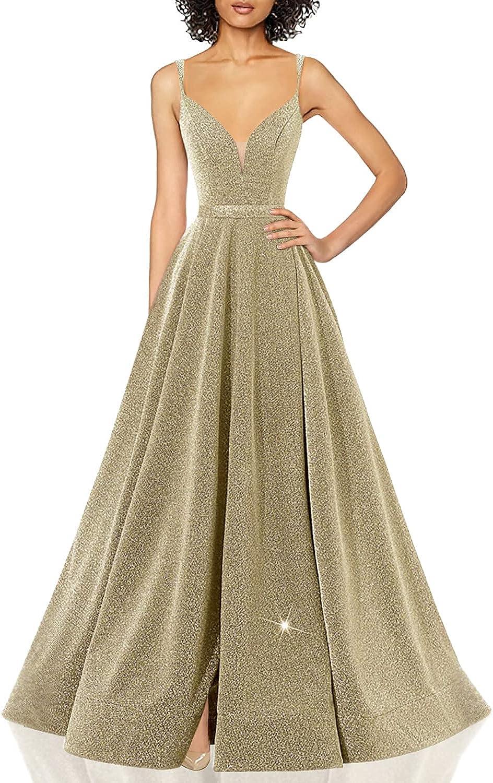 Women's Glittery Spaghetti Regular discount V-Neck Prom F Side Long Dresses Split Ranking TOP11
