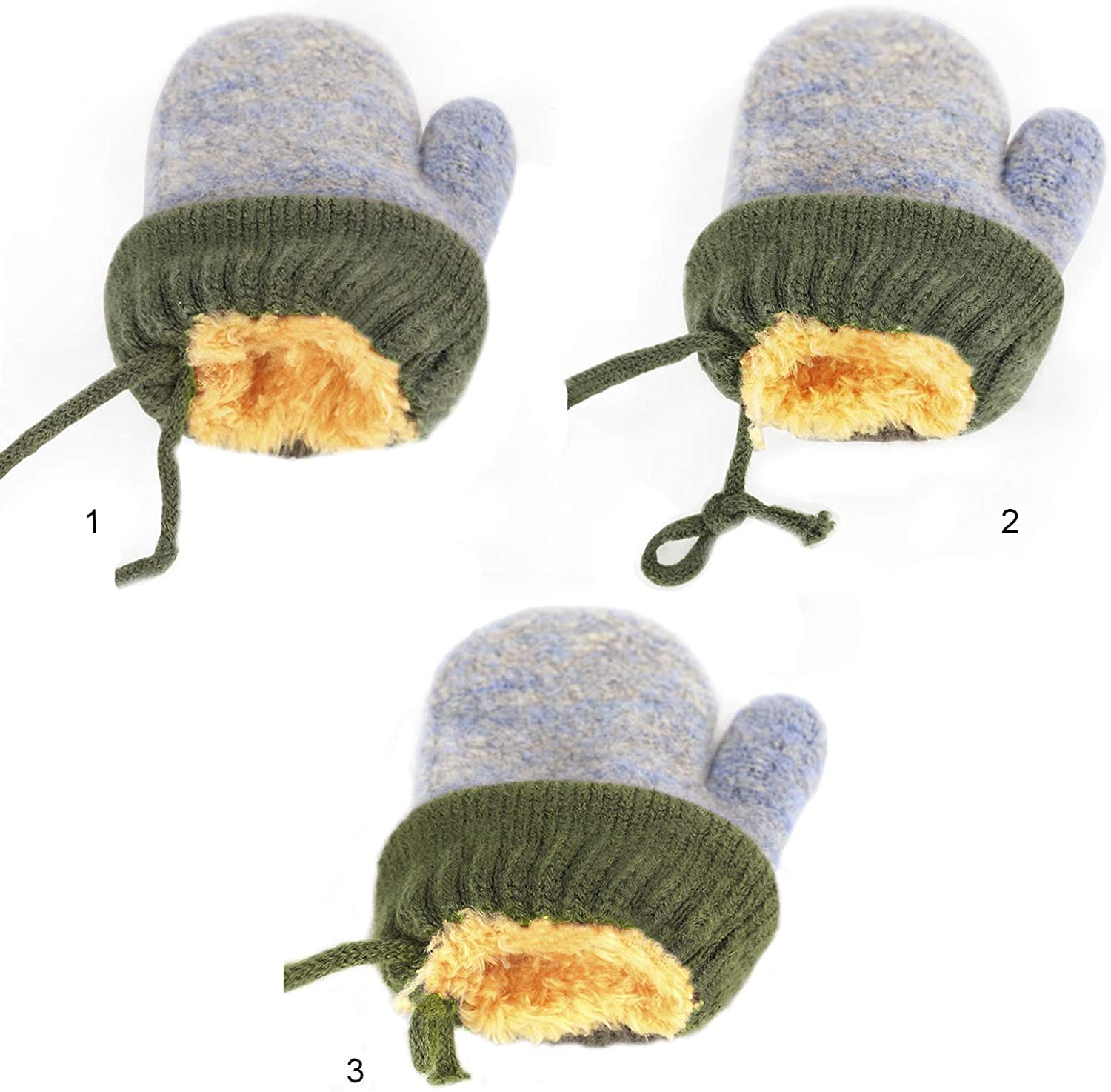 Toddlers Bear Design Short Knitted Gloves Babies Thick Plush Lining Mittens