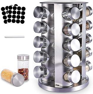 SaiXuan Kryddhylla med 20 kryddburkar (utan kryddor), kryddställ kryddförvaring, 360° roterbar, kryddburkar för spridning,...