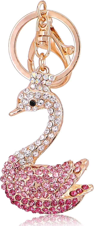 QTKJ Cute Swan Charms Keychain Sparkling Key Ring for Women Bag Handbag Charms Key Ring Car Key Crystal Pendant Gift
