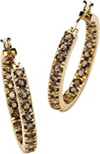 Genuine Smoky Quartz 18k Yellow Gold over Sterling Silver Inside-Out Hoop Earrings