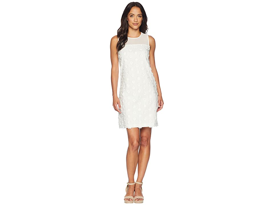 CeCe Sleeveless 3D Flower Shift Dress (New Ivory) Women