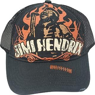 Jimi Hendrix Ripped Style Trucker Mesh Adjustable Adult Cap Hat Black