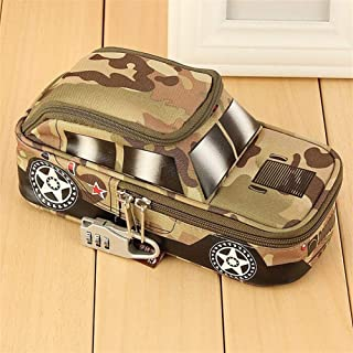YWSCXMY-AU Creative Car Styling Pencil Case Pencil Case with Combination Lock Double Zipper Camouflage Canvas Big Cute School Pencil Case (Color : Brown)