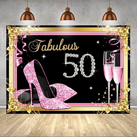 Hot Pink Sequins with Grey Background for Photography 7x5ft Happy 50th Birthday Black High Heels Elegant Studio Backgrounds for Women Birthday Customized