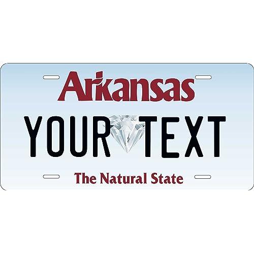Arkansas Black License Plate Personalized Custom Auto Bike Motorcycle Moped key