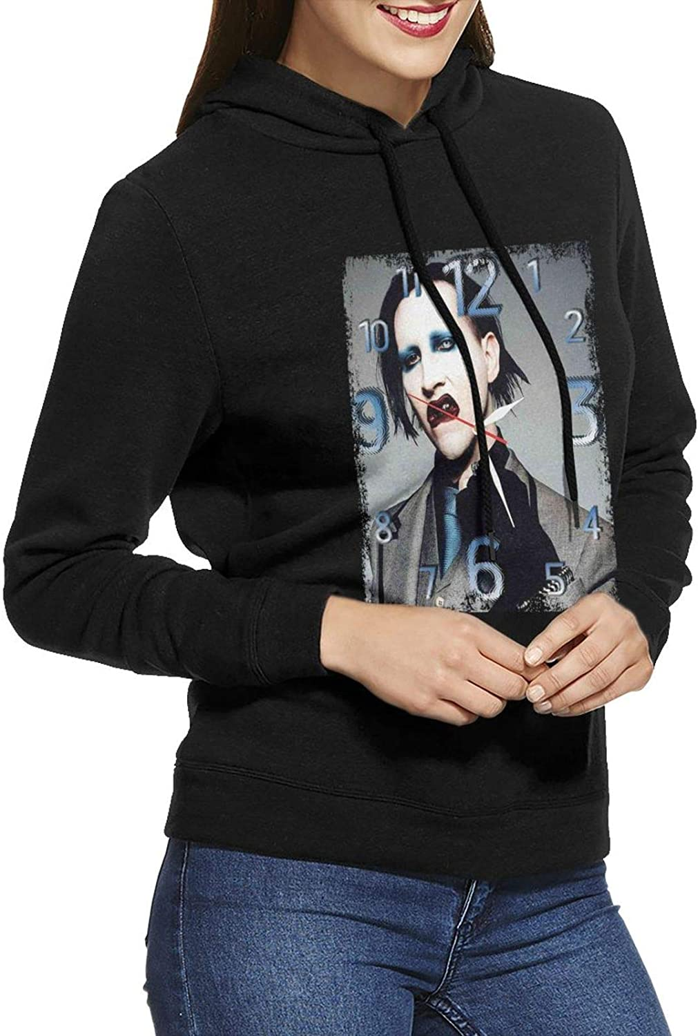 Marilyn Manson Wall Clock Hoodie Cotto Cheap super special price Max 60% OFF Womens Casual Sweatshirts